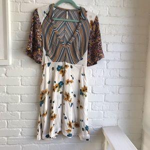 Free People Fall Short Sleeve Floral Mini Dress 8
